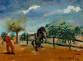 Fine Art - Painting, American:Contemporary   (1950 to present)  , PHILIP EVERGOOD (American, 1901-1973). Cowboy and Mustang,1954. Oil on canvas backed by masonite. 12-1/4 x 16 inches (3...
