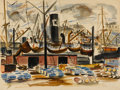 Fine Art - Painting, American:Modern  (1900 1949)  , REGINALD MARSH (American, 1898-1954). East River, New York,1923. Watercolor on paper. 14-3/4 x 19-1/2 inches (37.6 x 49...