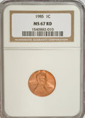 Lincoln Cents: , 1985 1C MS67 Red NGC. NGC Census: (164/36). PCGS Population(207/19). Numismedia Wsl. Price for NGC/PCGS coin in MS67: $33...
