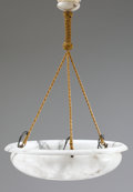Decorative Arts, French:Lamps & Lighting, AN EMPIRE-STYLE ALABASTER CHANDELIER. Late 19th-20th Century. 36 x24 x 24 inches (91.4 x 61.0 x 61.0 cm). ...