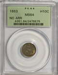 Seated Half Dimes: , 1853 H10C No Arrows MS64 PCGS. PCGS Population (20/15). NGC Census:(38/24). Mintage: 135,000. Numismedia Wsl. Price for NG...