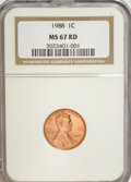 Lincoln Cents: , 1988 1C MS67 Red NGC. NGC Census: (187/24). PCGS Population(142/19). Numismedia Wsl. Price for NGC/PCGS coin in MS67: $32...