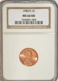 Lincoln Cents: , 1984-D 1C MS66 Red NGC. NGC Census: (41/58). PCGS Population(106/194). Numismedia Wsl. Price for NGC/PCGS coin in MS66: $...
