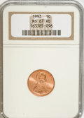 Lincoln Cents: , 1993 1C MS67 Red NGC. NGC Census: (99/30). PCGS Population(385/122). Numismedia Wsl. Price for NGC/PCGS coin in MS67: $22...