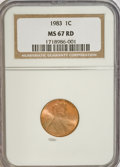 Lincoln Cents: , 1983 1C MS67 Red NGC. NGC Census: (109/9). PCGS Population(126/27). Numismedia Wsl. Price for NGC/PCGS coin in MS67: $27....