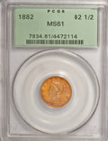 Liberty Quarter Eagles: , 1882 $2 1/2 MS61 PCGS. PCGS Population (7/48). NGC Census: (31/46). Mintage: 4,000. Numismedia Wsl. Price for NGC/PCGS coin...