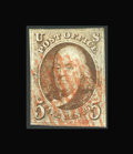 Stamps, #1, 1847, 5c Red Brown, VG 50 PSE. (Used)....