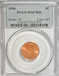 Lincoln Cents: , 1996 1C MS67 Red PCGS. PCGS Population (377/84). NGC Census:(92/28). Numismedia Wsl. Price for NGC/PCGS coin in MS67: $17...