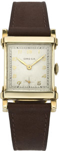 Timepieces:Wristwatch, Omega Men's Vintage Gold Wristwatch, circa 1940's. ...