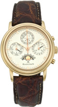 Timepieces:Wristwatch, Blancpain Ref. 5585 Gold Automatic Chronograph with PerpetualCalendar and Moon Phase, circa 1990's. ...
