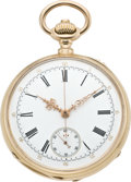 Timepieces:Pocket (pre 1900) , Patek Philippe Very Fine Gold Pocket Watch with Chronograph, circa1882. ...