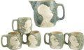 """Political:3D & Other Display (1896-present), Franklin D. Roosevelt: Stangl """"Happy Days Are Here Again"""" Prohibition Repeal Pitcher and Mug Set.... (Total: 6 Items)"""