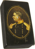 Political:3D & Other Display (pre-1896), Zachary Taylor: A Stunning Lacquered Wood Portrait Box with HingedLid....