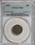 Bust Dimes: , 1833 10C VF20 PCGS. PCGS Population (6/252). NGC Census: (2/247).Mintage: 485,000. Numismedia Wsl. Price for NGC/PCGS coin...