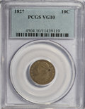 Bust Dimes: , 1827 10C VG10 PCGS. PCGS Population (5/263). NGC Census: (1/236).Mintage: 1,300,000. Numismedia Wsl. Price for NGC/PCGS co...
