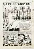 "Original Comic Art:Complete Story, John Celardo (attributed) Exciting War Complete 7-page Story""All Blood Runs Red"" Original Art (Standard, 1952)...."