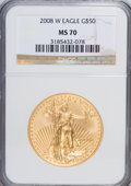 Modern Bullion Coins, 2008-W $50 Gold Eagle MS70 NGC. NGC Census: (0/0). PCGS Population(97/0). (#393068)...