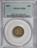 Bust Dimes: , 1835 10C VF20 PCGS. PCGS Population (8/383). NGC Census: (1/408). Mintage: 1,410,000. Numismedia Wsl. Price for NGC/PCGS co...