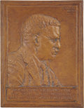 Political:3D & Other Display (1896-present), Theodore Roosevelt: Bronze Bas Relief Portrait Plaque by JamesEarle Fraser, 1920....