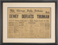 "Political:3D & Other Display (1896-present), Harry S Truman: The Famous ""Dewey Defeats Truman"" NewspaperHeadline, The Chicago Tribune...."