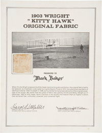 Wright Brothers: 1903 Kitty Hawk Plane Fabric Swatch with Ivonette Wright Miller Document Signed