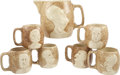 "Political:3D & Other Display (1896-present), Franklin D. Roosevelt: Stangl ""Happy Days Are Here Again""Prohibition Repeal Pitcher and Mug Set. ... (Total: 7 Items)"