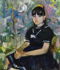 Fine Art - Painting, Russian:Modern (1900-1949), BOYUK AGA MIRZAZADE (Azerbaijani, 20th Century). Girl in theGarden. Oil on artist's board. 9-1/2 x 8-1/2 inches (24.1 x...