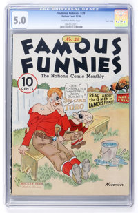 Famous Funnies #28 Lost Valley pedigree (Eastern Color, 1936) CGC VG/FN 5.0 Slightly brittle pages