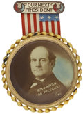 "Political:Ribbons & Badges, William Jennings Bryan: Spectacular Large Badge with Color Tinted 4"" Celluloid. ..."