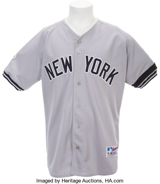best authentic 84ddd 3e390 2001 Bernie Williams World Series Game Worn Jersey ...
