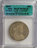 Early Half Dollars: , 1807 50C Draped Bust--Damaged--ICG. VG10 Details. O-105. NGCCensus: (21/721). PCGS Population (31/857). Mintage: 301,076....