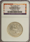 Seated Half Dollars, 1861-O 50C --Shipwreck Effect--NGC No Grade. W-07, S.S.Republic, Louisiana Issue. This lot is accompanied by acertific...