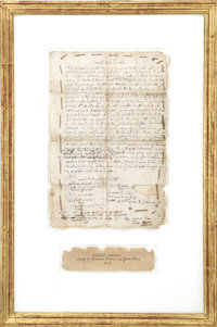 "John Alden Document Signed With a Second Signature by Governor Thomas Prence. One page, 8"" x 12.25"", January 2..."