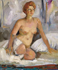 Fine Art - Painting, Russian:Contemporary (1950 to present), BOYUK AGA MIRZAZADE (Azerbaijani, 20th Century). Seated NudeWoman, 1972. Oil on canvas. 23-1/4 x 19-3/4 inches (59.1 x ...