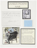 Miscellaneous:Ephemera, Charles Dickens: Several Strands of Hair from the Famed BritishAuthor. ...