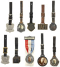 Political:Small Miscellaneous (1896-present), William Howard Taft: Nice Selection of Nine Watch Fobs and a 1908 Delegate Badge.... (Total: 10 Items)