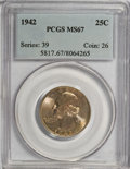 Washington Quarters, 1942 25C MS67 PCGS....