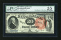 Large Size:Legal Tender Notes, Fr. 136 $20 1880 Legal Tender PMG About Uncirculated 55....