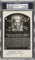 Autographs:Post Cards, 1956-63 Bill Terry Artvue Hall of Fame Plaque Postcard PSA/DNACertified Authentic....