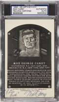 Autographs:Post Cards, 1956-63 Max Carey Artvue Hall of Fame Plaque Postcard PSA/DNA Certified Authentic....