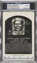 Autographs:Post Cards, 1956-63 Sam Crawford Artvue Hall of Fame Plaque Postcard PSA/DNACertified Authentic Mint 9....