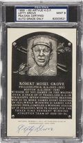 Autographs:Post Cards, 1956-63 Lefty Grove Artvue Hall of Fame Plaque Postcard PSA/DNACertified Authentic Mint 9....