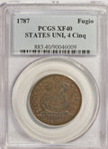 1787 1C Fugio Cent, STATES UNITED, 4 Cinquefoils, Pointed Rays XF40 PCGS