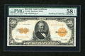 Large Size:Gold Certificates, Fr. 1200 $50 1922 Gold Certificate PMG Choice About Unc 58 EPQ....