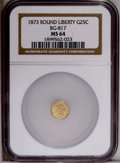 California Fractional Gold: , 1873 25C Liberty Round 25 Cents, BG-817, R.3, MS64 NGC. NGC Census:(7/7). PCGS Population (46/19). (#10678)...