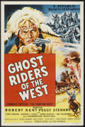 "Movie Posters:Serial, Ghost Riders of the West (Republic, R-1954). One Sheet (27"" X 41"") Flat-Folded. Serial.. ..."