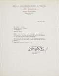 Autographs:Letters, Larry MacPhail Signed Typed Letter....