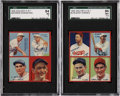 Baseball Cards:Lots, 1935 Goudey 4-in-1 Baseball SGC-Graded High Grade Pair (2)....
