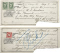 Autographs:Others, 1915-16 Chicago Whales Federal League Promissory Notes Lot of 2....