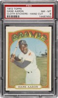 Baseball Cards:Singles (1970-Now), 1972 Topps Test Cloth Sticker Hank Aaron PSA NM-MT 8....